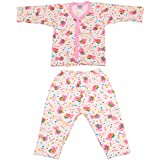 Littly Front Open Kids Printed Thermal Top And Pyjama Set For Baby Boys And Baby Girls (Pink)