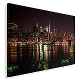 Feeby Cuadro en Lienzo - 1 Parte - 80x120 cm, Imagen Impresión Pintura Decoración Cuadros de una Pieza, Nueva York, Empire State Building, Arquitectura, Marrón