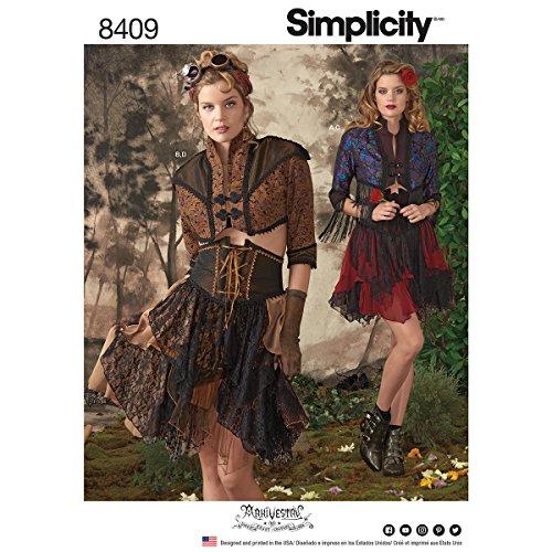 Simplicity Pattern 8409Mujeres de Bolero Steampunk corsé y Falda, Papel, Blanco, 22x 15x 1cm