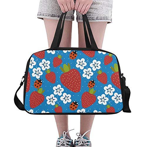 Reopx Bunte erdbeer marienkäfer große Yoga Gym Totes Fitness handtaschen reisetaschen Schultergurt Schuh Tasche für übung Sport gepäck für mädchen männer Frauen im freien
