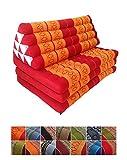 Collumino Materasso matrimoniale, in tradizionale capoc Thai, a 3 strati, con cuscino reclinabile triangolare, in stile orientale, per yoga, massaggi o relax, da 80 cm, extra grande Orange, Red