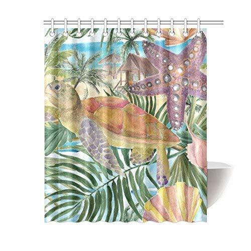 InterestPrint Meer Schildkröte Seashell Seestern Home Decor, tropischen Palme Blätter Polyester Stoff Vorhang für die Dusche Badezimmer-Sets mit Haken 182,9x 182,9cm, Textil, Multi, 60 X 72 inch