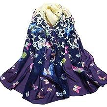 Familizo elegante bella tinta Donne Farfalla Stampato Fiore molle silenziatore chiffon dell'involucro della sciarpa dello scialle