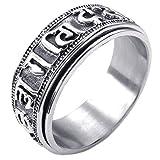 SODIAL(R) Black Silver 11 Sodialr Jewelry Men Ring Stainless Steel Spinning Spinner Tibet