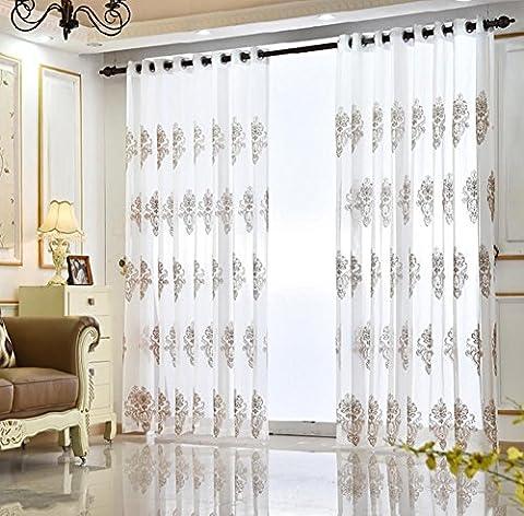 Haute qualité Dentelle brodée creux écrans respirant balcon Chambre à coucher Voilage Vitrage creux ventilé Blanc/Coffe 200cmx270cm (80x 274,3cm) -1pièce, café, 1*(300*270cm)