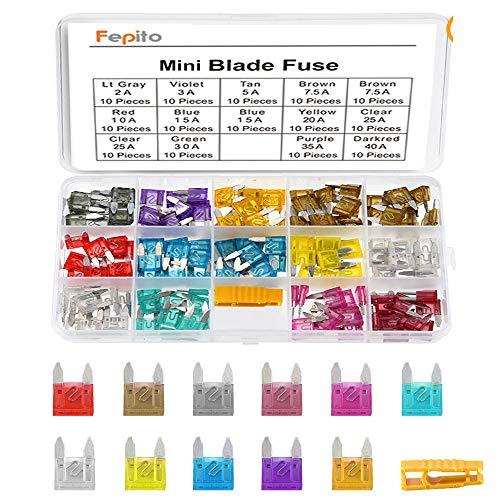 FEPITO 140pcs Mini fusible de voiture Fuse Assortiment fusible pour Auto Truck avec boîtier de stockage (2A, 3A, 5A, 7.5A, 10A, 15A, 20A, 25A, 30A, 35A, 40A)
