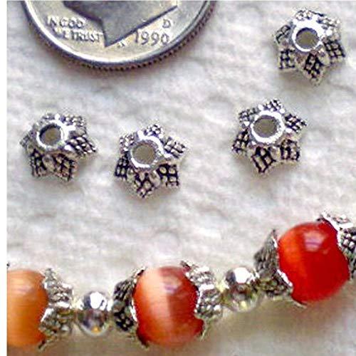Antik Korn (Gamloious 50pcs antike Silberne Stern Metall-Korn-Kappen 6mm)