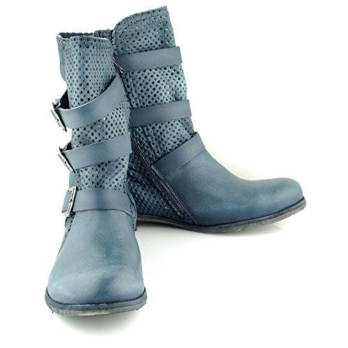 Felmini - Damen Schuhe - Verlieben Alfa A002 - Cowboy & Biker Stiefel - Echtes Leder - Blau Blau