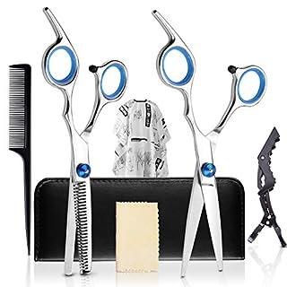Friseurschere Set Haarschnitt scharfe präzise Haarschere moderne Modellierschere Ausdünnschere Stilkamm Putztuch in schwarzem Etui geeignet für Männer Frauen Kinder