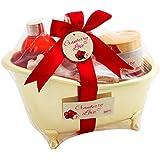 BRUBAKER Cranberry Love Bade-Geschenkset mit Badewanne goldfarben 6-teilig