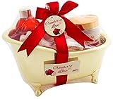 BRUBAKER Cranberry Love Badeset mit Wanne goldfarben 6 -teilig