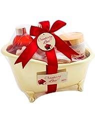 BRUBAKER Cranberry Love - Coffret de Bain avec Baignoire Dorée - 6 Pièces - Canneberge