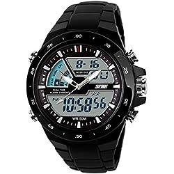 Ularmo Male Dual Display Waterproof Multi Function LED Sports Watch Alarm Black