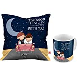 Indigifts Good Things are better with You Printed Ceramic 325ml Coffee Mug with Cushion Cover and Filler (Purple)