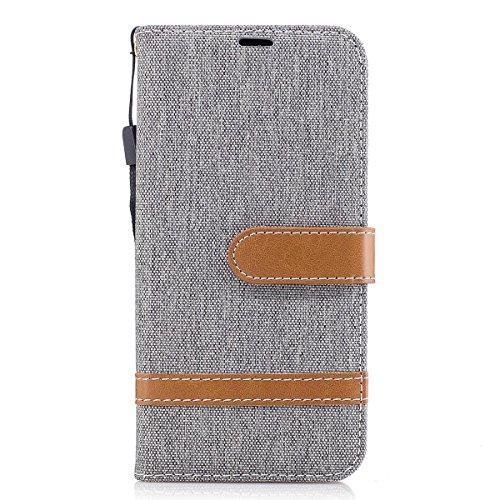 ISAKEN Galaxy J5 2017 Hülle, Canvas PU Leder Flip Cover Brieftasche Ledertasche Handyhülle Tasche Case Schutzhülle Hülle mit Handschlaufe Strap für Samsung Galaxy J5 2017 - Leinen Grau