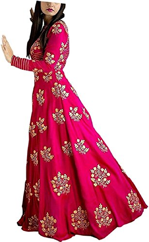 MRS Women\'s Taffeta Silk Long Anarkali Embroidery Gown For Women And Girl (Black Pink Gown)