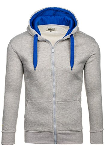 BOLF Herren Kapuzenpullover Sweatjacke Sweatshirt Hoodie Pullover Mix 1A1 Pulli Grau-Mittelblau_2074-3