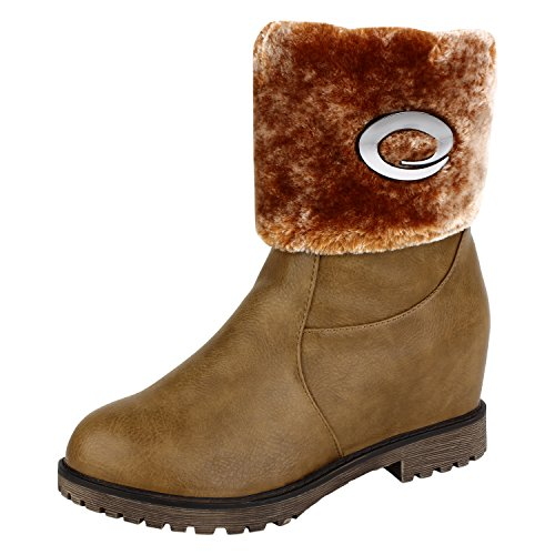 Authentic-Vogue-Womens-Ankle-Length-Faux-Fur-Wedge-Heel-Tan-Colour-Leather-Boots