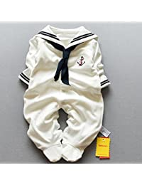 Zooarts recién Nacidos bebé Unisex Girls Boys Sailor una Pieza Pelele de  Manga Larga Footies Photo Props Body… 8fb605be3ff3