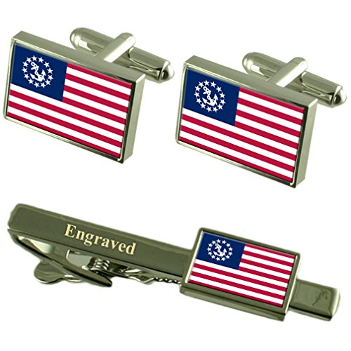 Yachtcharter, der Stern der USA-Flagge Manschettenknöpfe graviert Krawattenklammer