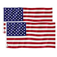 American Flag 3x5 Foot 2PACKS,Nylon US Flags with Bright Vivid Color and Premium Material for Outdoor,Longest Lasting USA Flags 3x5 for Outside(Breeze Style)