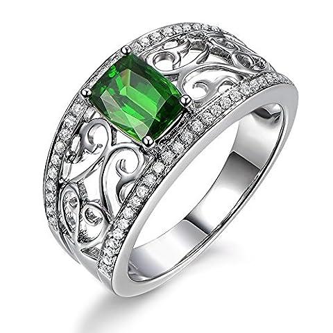 Amazing Design Fashion Jewelry Natural Diopside Green Gemstone 14K White Gold Diamond Enagagement Wedding Ring Set for Women
