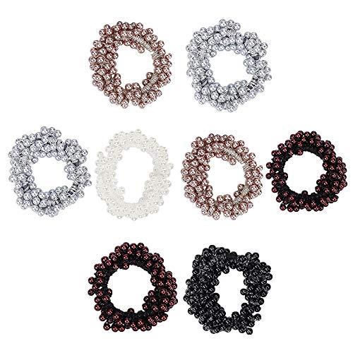 Elastico per capelli con perle sintetiche, 8 pezzi