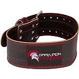 Dark Iron Fitness Strapazierfähiger Gürtel aus echtem Leder mit Verstellbarer Schnalle für Männer und Frauen Mittel Schwarz