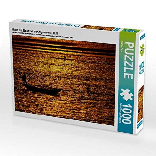 Mann mit Boot bei der Algenernte, Bali 1000 Teile Puzzle quer