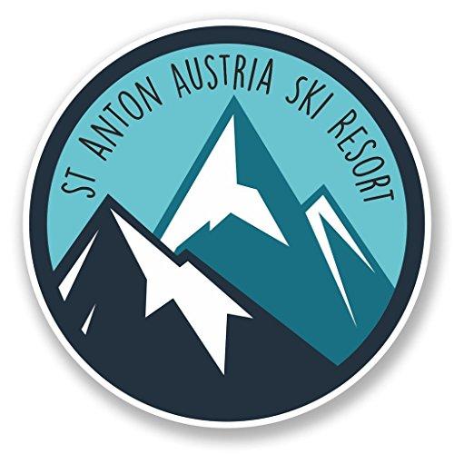 Preisvergleich Produktbild 2 x 10cm/100mm St. Anton Tirol Österreich Ski Snowboard Resort Vinyl SELBSTKLEBENDE STICKER Aufkleber Laptop reisen Gepäckwagen iPad Zeichen Spaß #6434