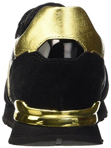 Bikkembergs Numb-er 741 Low Shoe W Nabuk/Nylon, Pompes à plateforme plate femme Noir - Nero (Black/Gold)