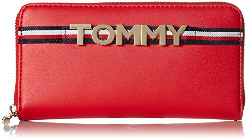 Tommy Hilfiger Corporate Highlight Leather Za Wlt, Portefeuilles femme, Rouge (Tommy Red), 2.5x19.5x10 cm (B x H x T)