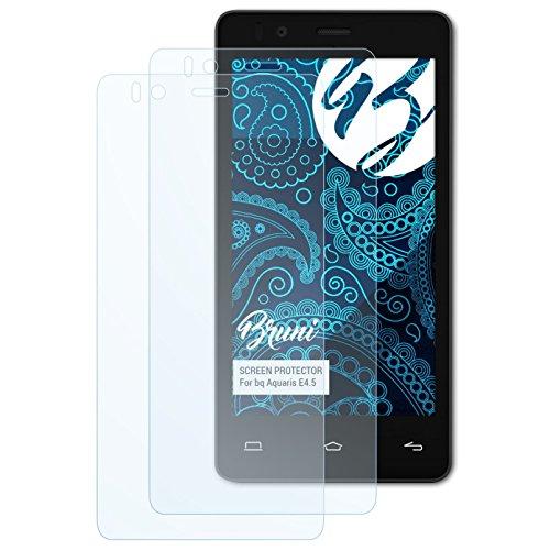 Bruni Schutzfolie für bq Aquaris E4.5 Folie, glasklare Bildschirmschutzfolie (2X)