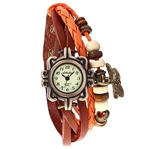 Butterfly Vintage Weave Wrap Bronze Dial Case Leather Band Bracelet Ladies Watch WAA492