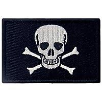 Pirate Flag Patch Embroidered Applique Fastener Hook & Loop Emblem