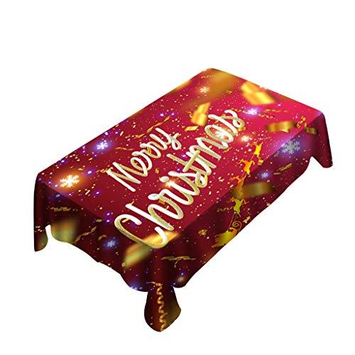HSKB Weihnachten Tischdecke Tischtuch Tischwäsche Vivid Einfarbig Pflegeleicht Druck mit Klaren Farben ohne Verblassen Waschbar für Tischläufer Stretch Stuhlbezug Cover Dekoration