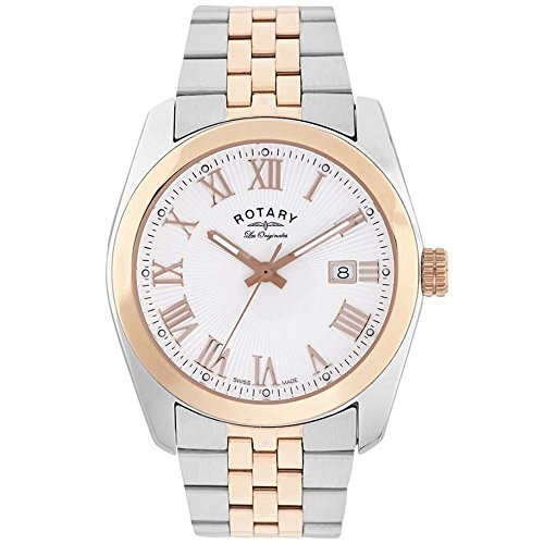 Rotary Men's Quartz Watch with White Dial Analogue Display and Rose Gold Plated Silver Stainless Steel Bracelet GB90111/01