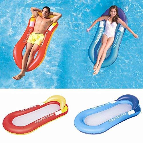 Cozywind Luftmatratze Wasserhängematte Hängematte Matratzen Wasseriege Klappbare Pool schwimmende Bett Wasser Sofa mit Kopfteil (blau)