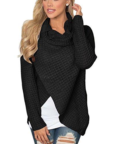 ABYOXI Damen Langarm Einfarbig Asymmetrisch Pullover Strickjacke Sweatjacke Sweatshirt (Black) S