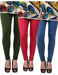 Anekaant Pack Of 3 Cotton Lycra Free Size Women's Legging -Dark Green, Maroon, Grey