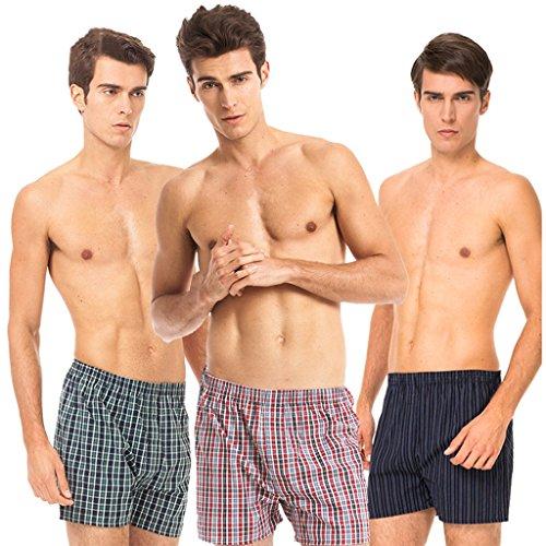 CXSM Herrenunterwäsche Baumwolle Hosen Shorts Frühling und Sommer Überprüfen Unterwäsche Lose Baumwolle Männer (Rot und Blau + Blau Grün + Blau und Schwarz) dreiteilig (Größe : XXXL) (3 Herren-boxer-unterwäsche-plaid)