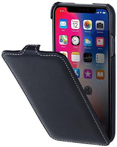 StilGut Leder-Hülle für iPhone XS/iPhone X UltraSlim Flipcase, Schwarz Nappa