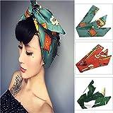 Vintage Frauen Stirnband 3 Stück Baumwolle Floral Turban Retro Haarband...