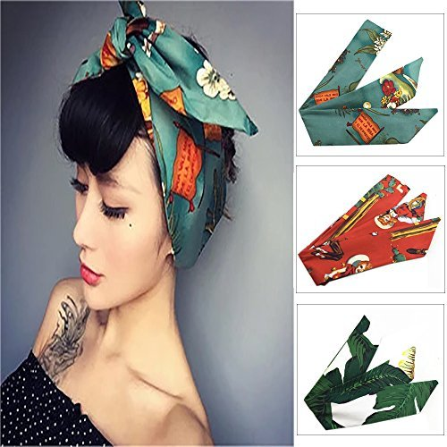 Diadema de mujer vintage 3 piezas de algodón Impreso floral turbante abrigo de pelo Retro Hairband