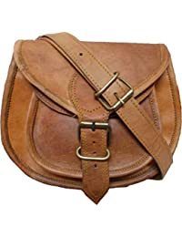RSN 9 Inch Vintage Brown Genuine Leather Cross Body Sling Bag For Women