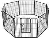 Maxx - Parc Enclos pour Chiens - Porte et 8 Panneaux - Grillage en Fer - 80x80cm - Ø 210 cm - Cage pour Chiens Chiots Animaux de Compagnie