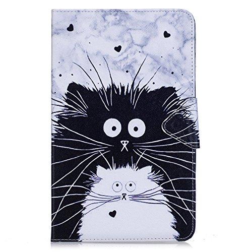 """Jian ying Protector cover per Samsung Galaxy Tab A6 10.1"""" SM-T580 T585 custodia, slim in pelle PU supporto pieghevole tablet cover custodia con funzione Sleep/Wake (Bianco gatto nero)"""