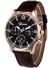 Reloje Hombres,Xinan Banda de Cuero PU Reloj de Cuarzo de Aleación Analógica (Marrón)