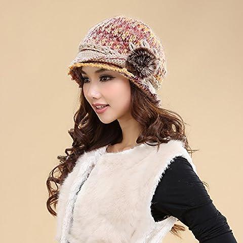 Dngy*L'inverno cappello pieno di sesso femminile tessute a mano cappelli di lana double caldo inverno maglione Knit Hat orecchio i tappi , tutti i rosa