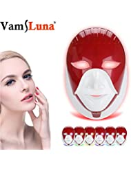 WAMK Máscara Led de 7 Colores Recargable para el Cuidado de la Piel máscara Facial Led con Cuello Estilo Egipto Terapia de fotones Belleza de la Cara,Red